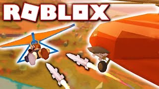 MILITARY HELICOPTER MISSILES VS GLIDER!! (Roblox Jailbreak)