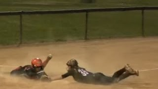 Ump Bad Call? Emily Burrow SoCal Shortstop Tag Stealing 3rd vs Venom @ ASA Softball Tournament, CA