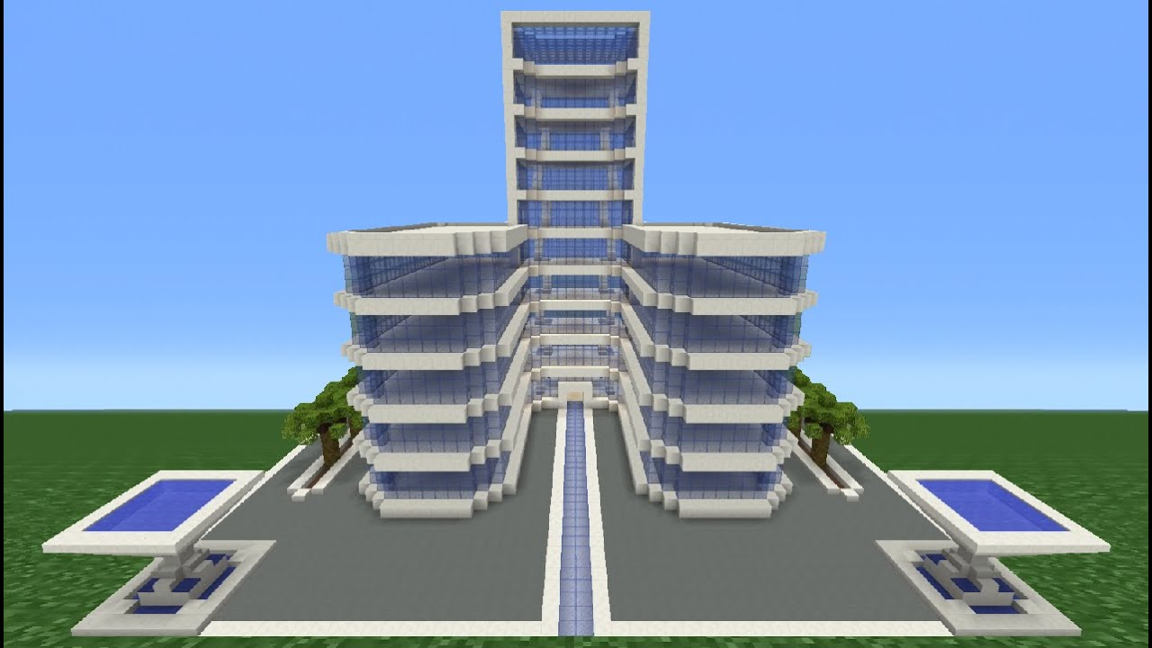 Minecraft tutorial how to make a modern hotel 3 youtube for Moderne hotels