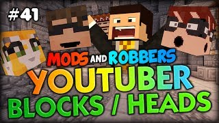 CRAZY YOUTUBER HEADS IN THE PRISON?? - Minecraft Modded Cops and Robbers (Youtuber Heads Mod)