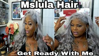 GET READY WITH ME/ MSLULA SILVER GREY SILKY STRAIGHT LACEFRONT HUMAN HAIR WIG