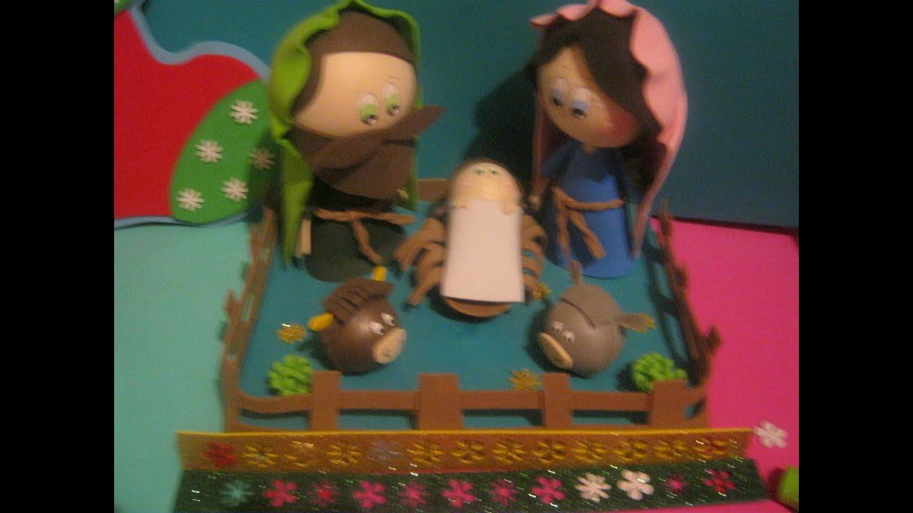 Nacimiento pesebre belen navide o en foamy gomaeva - Belen navideno manualidades ...