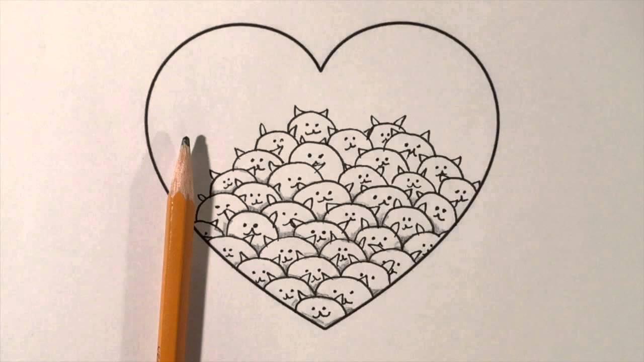 Zentangle heart #6 - Kitty - YouTube
