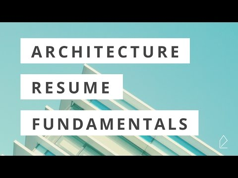 Workshop Wednesday / Architecture Resume Fundamentals