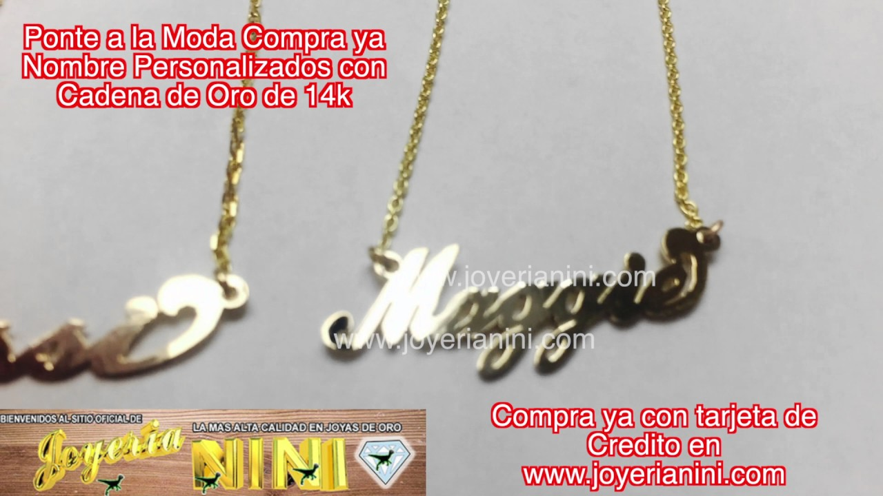 fdc7f3b43f8e Ponte a la moda con Nombres personalizados con Cadena de Oro 14k by joyeria  nini