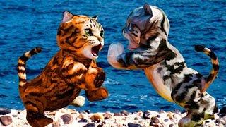 СИМУЛЯТОР Маленького КОТЕНКА #20 / три кота встретили тигра, ягуара, кабана и гориллу #ПУРУМЧАТА