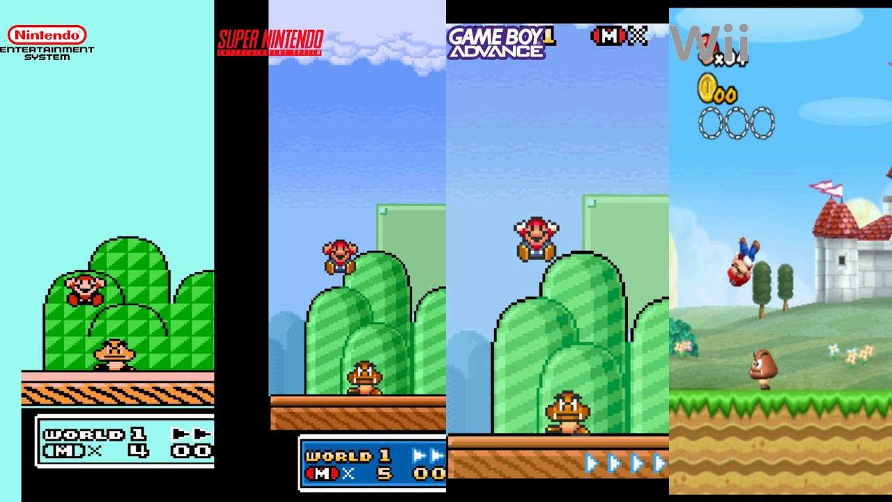 Super Mario Bros 3 Nes Vs Snes Vs Gameboy Vs Wii Graphics