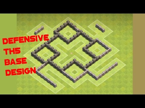 Clash Of Clans TH5 BEST Defensive Base Design Build Anti 3 STAR