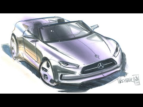 Car Design Tutorial: Linedrawing and Multi Colour Rendering - Timelapse thumbnail