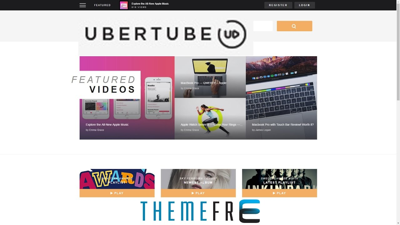 UBER TUBE Video Wordpress Theme for Video, Online Video, Video Streaming,  Video Services