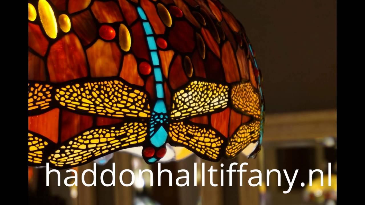 Antieke Tiffany Lampen : Haddon hall tiffany lampen red green dragonfly youtube