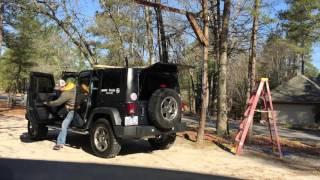 Jeep hardtop hoist without a garage part 1