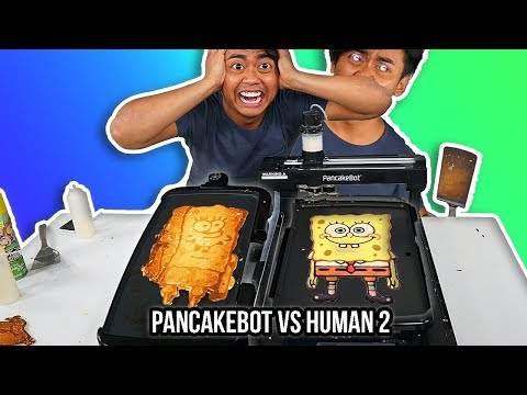 I Tried To Pancake Art Vs A Pancake Art Robot Round 2