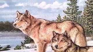 Гобеленовая картина пара волков на снегу