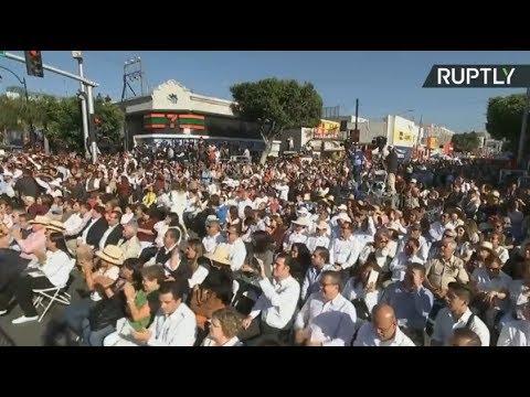 México celebra en Tijuana junto a su presidente la suspensión de aranceles de EEUU