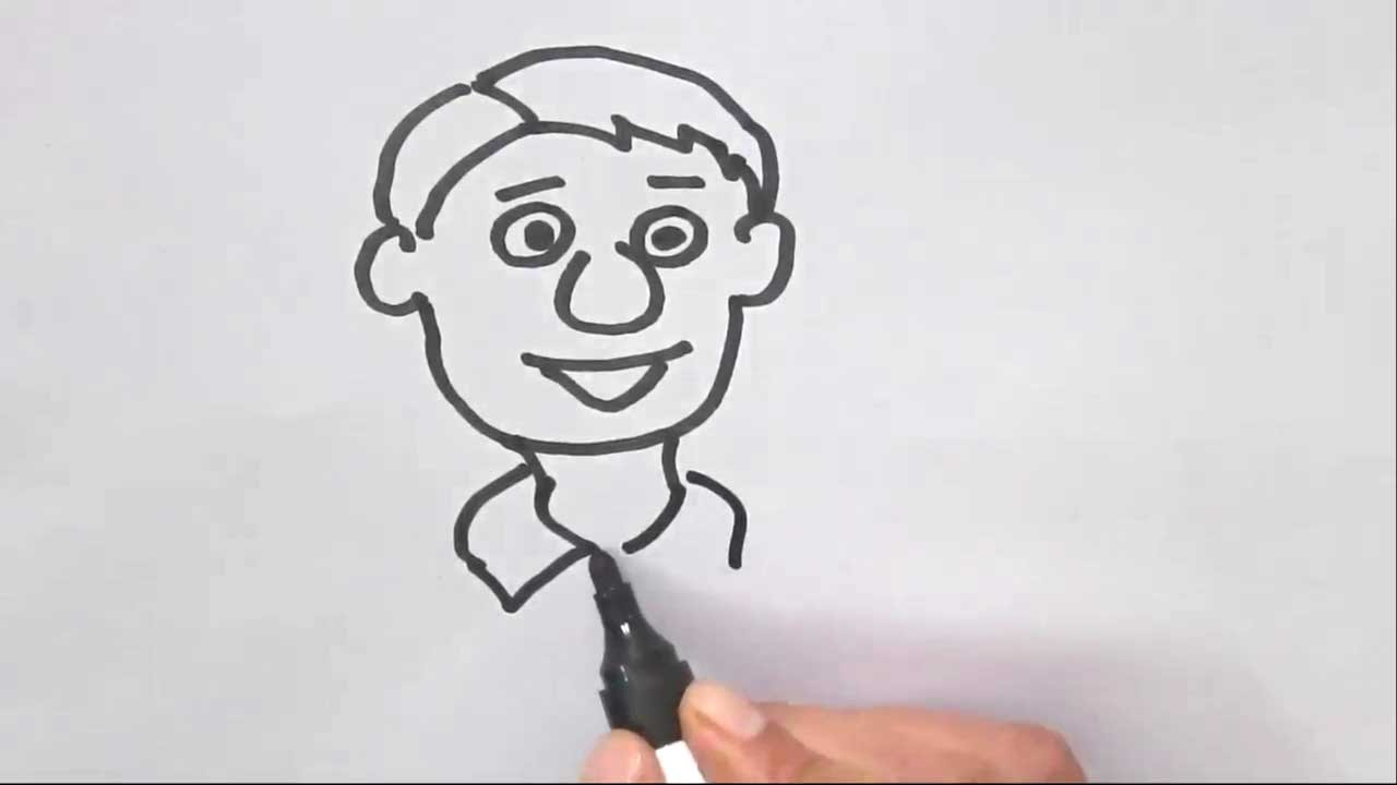 How To Draw A Cartoon Face In Easy Steps For Children Kids