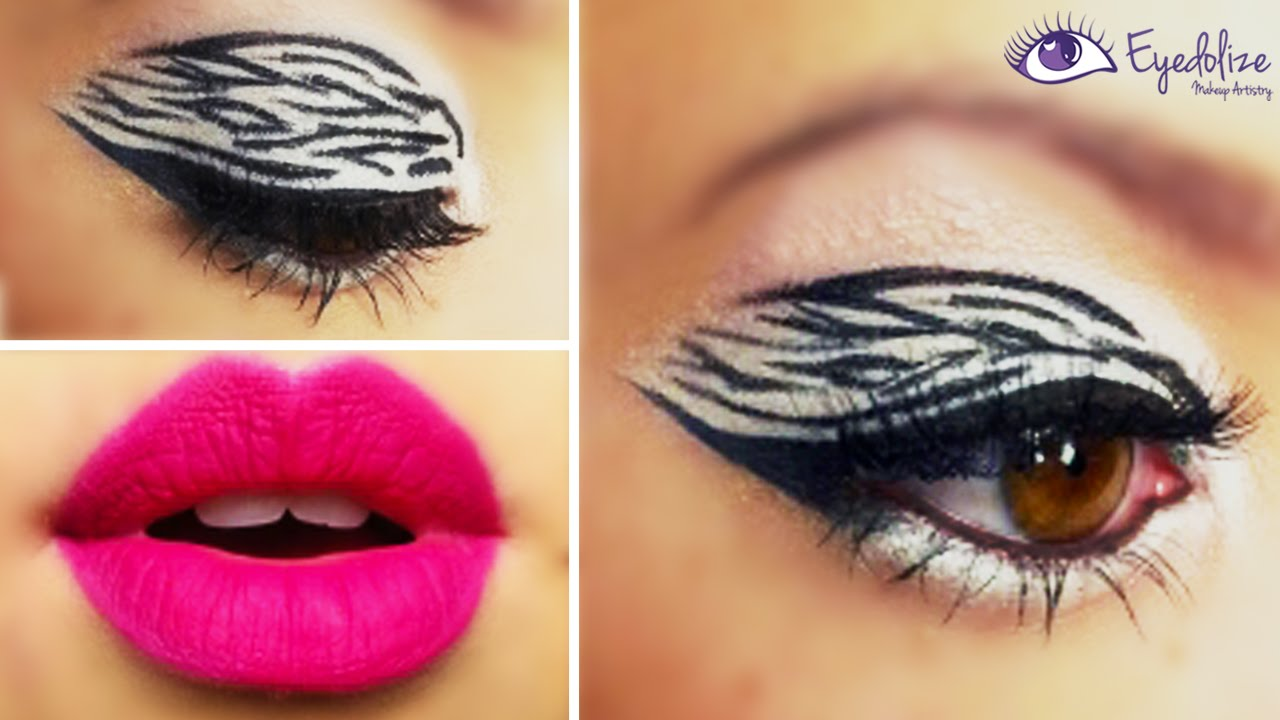 Zebra Eyeshadow Pink Lips Tutorial By Eyedolizemakeup Youtube