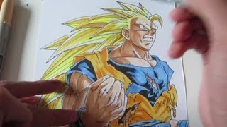 How to draw Goku Super Saiyan 3 SSJ3 孫 悟空 超サイヤ人3