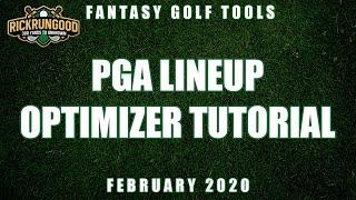 PGA Lineup Optimizer - 2020 PGA Tool Tutorial