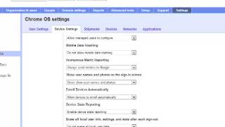 Chrome OS settings in the Google Apps Control Panel - EDU