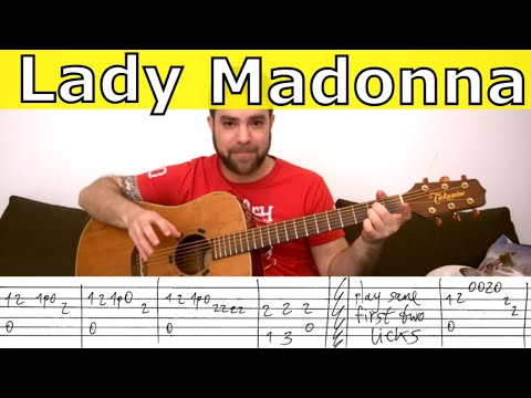 Fingerstyle Tutorial: Lady Madonna - Guitar Lesson w/ TAB