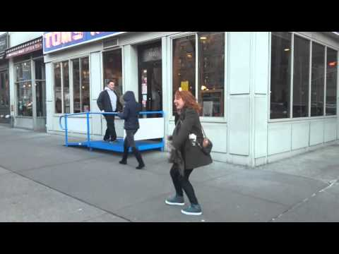 Me doing the Elaine dance in front of Tom's restaurant in NYC