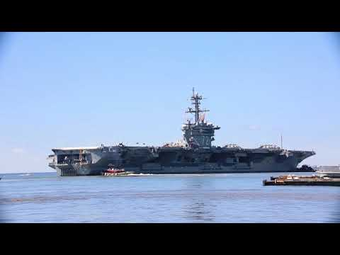 aircraft carrier USS Abraham Lincoln (CVN 72) departs Naval Station Norfolk