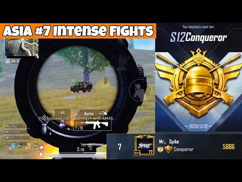 Asia #7 Intense Fights in Conqueror Tier   PUBG Mobile   Mr Spike