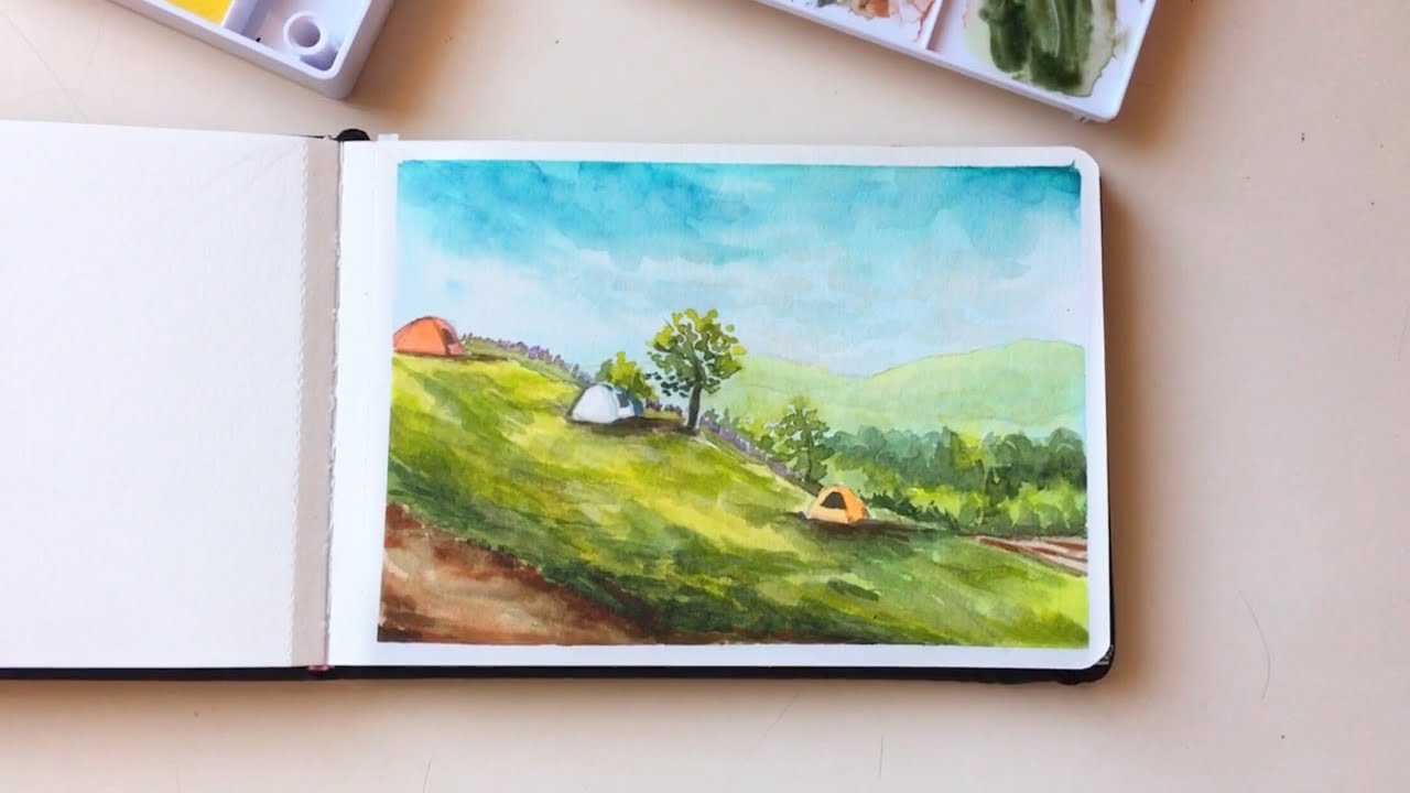 paint with me 🏕 watercolour camping scene
