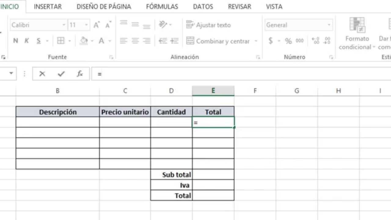Nota de venta bsica con Excel YouTube