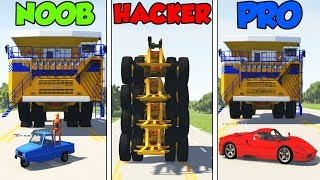 NOOB vs PRO vs HACKER #12 - BeamNG Drive (car crashes + stunts)