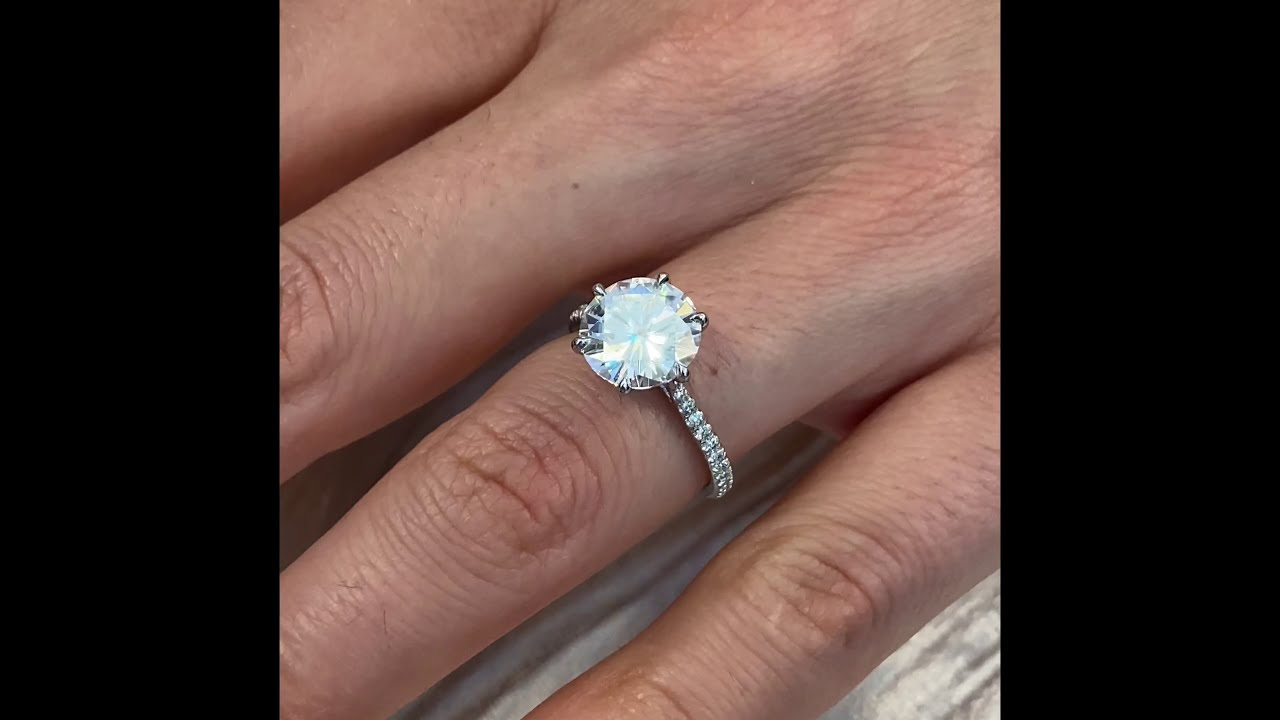 Round Moissanite Two-Tone Engagement Ring