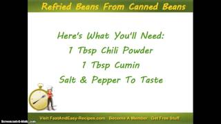 Refried Beans Using Canned Black Beans