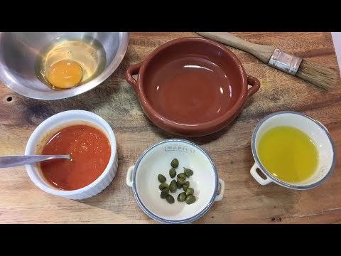 Oven baked eggs with tomato sauce and capers   Mediterranean Cooking