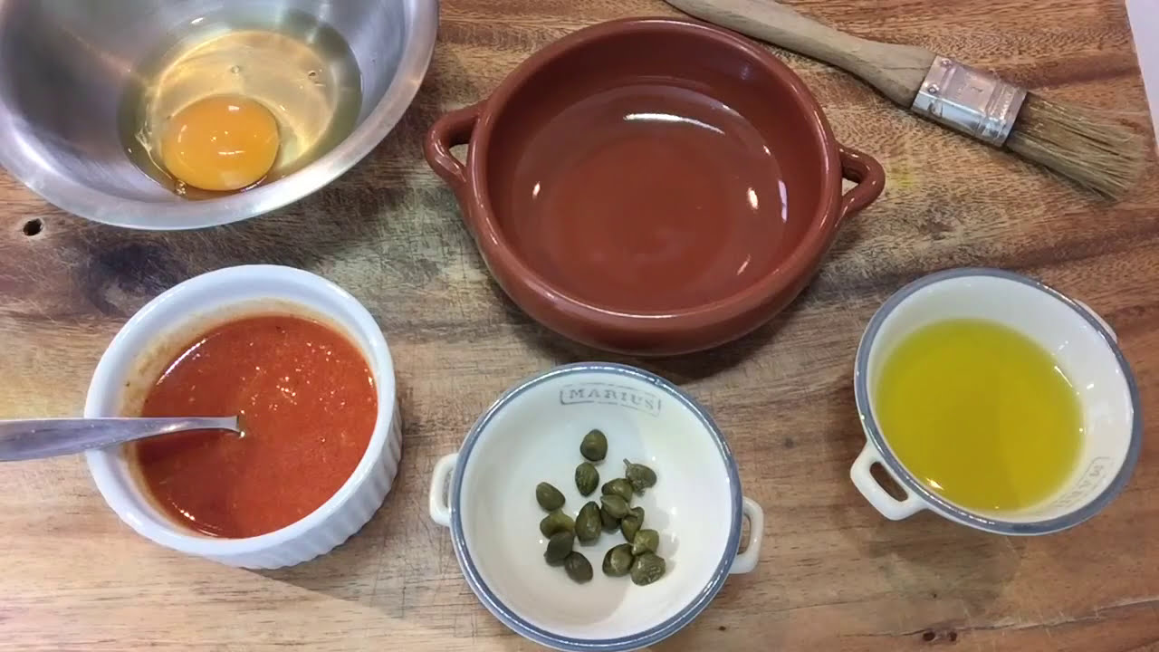 Oven baked eggs with tomato sauce and capers | Mediterranean Cooking