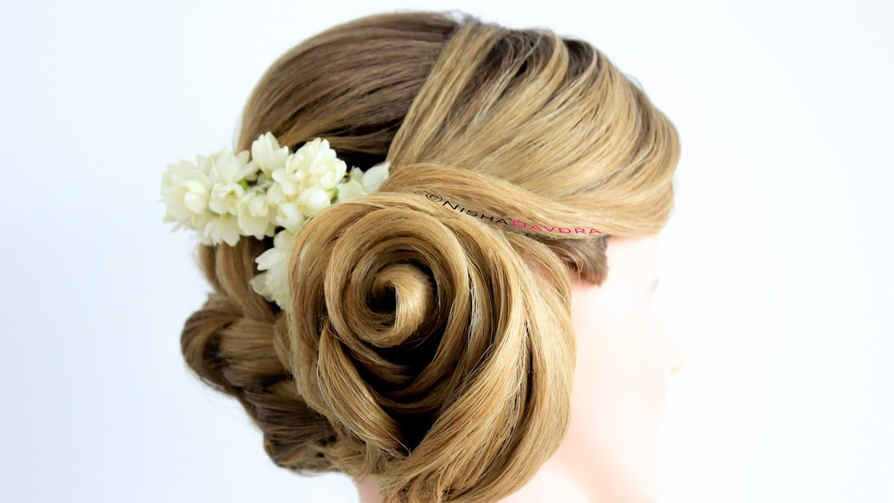 Rose Flower Hairstyle Step By Step Tutorial With Braid
