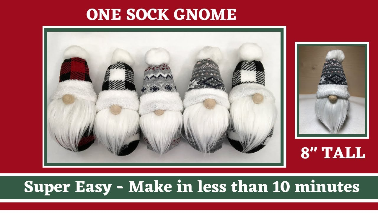 Download One Sock diy Gnome - Super Easy in less than 10 minutes - No sew gnomes - Christmas gnome
