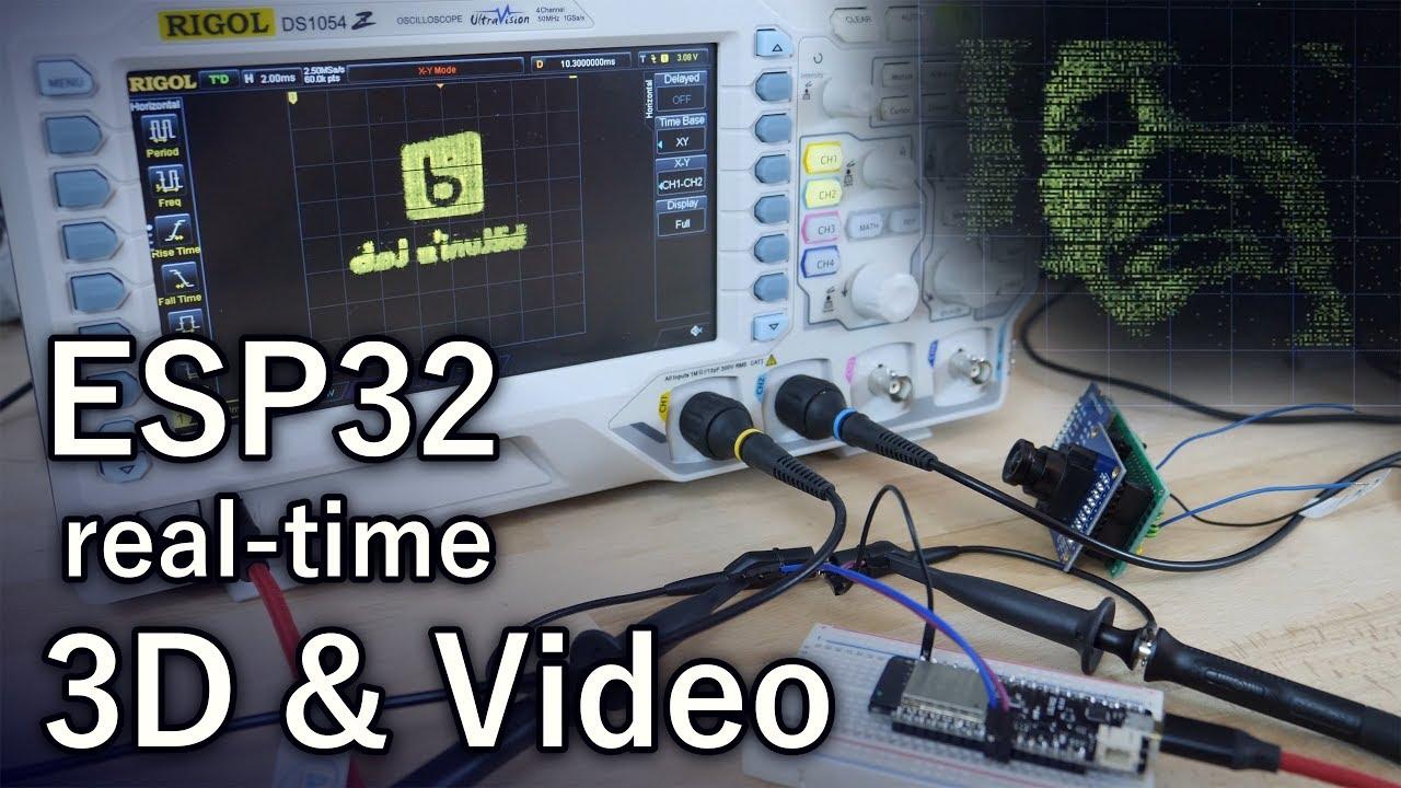 Oscilloscope as a Display (ESP32, DAC, 3D, Camera)