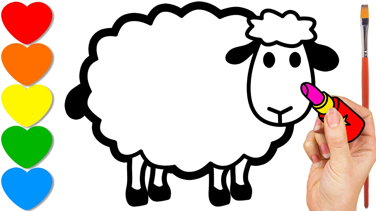 paint a sheep drawing for kids coloring for toddlers