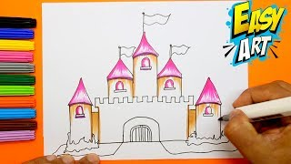 How to Draw princess castle for Girls - Drawings and Coloring Book for Kids