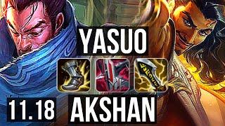 YASUO vs AKSHAN (MID) | 10/0/2, 1.6M mastery, 900+ games, Legendary | NA Master | v11.18