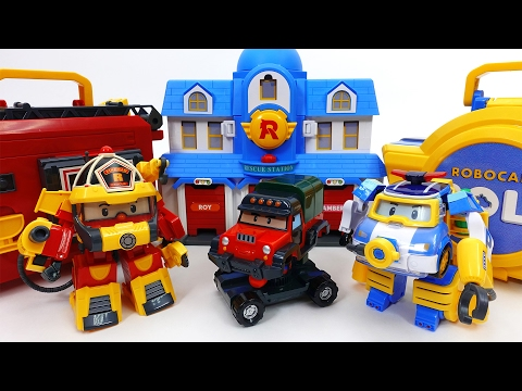 Thumbnail: Transforming Police Car Poli Fire Truck Roy Robocar Rescue Station & Transforming Base Playset