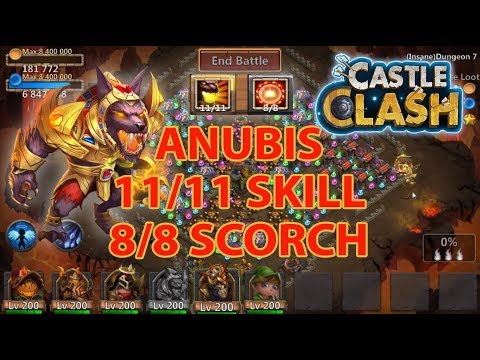 Anubis 11/11 Skill 8/8 Scorch Gameplay | Castle Clash
