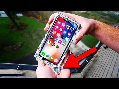 iPhone X Encased in GALLIUM! Survive 50 FT Drop Test?!