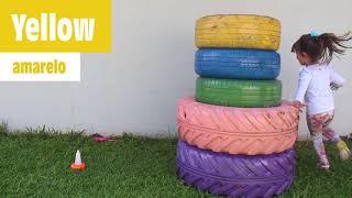 BRINCANDO E APRENDENDO CORES - Learn Colors for Kids with Color Tire for Children Songs