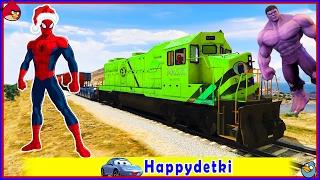 Человек паук катается на цветном большем поезде, мультики про машинки