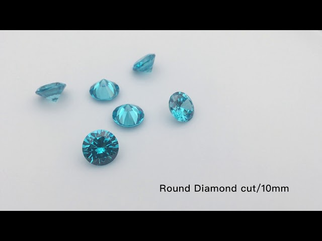 Aquamarine Blue Color Cubic Zirconia Round Diamond Cut CZ Gemstones