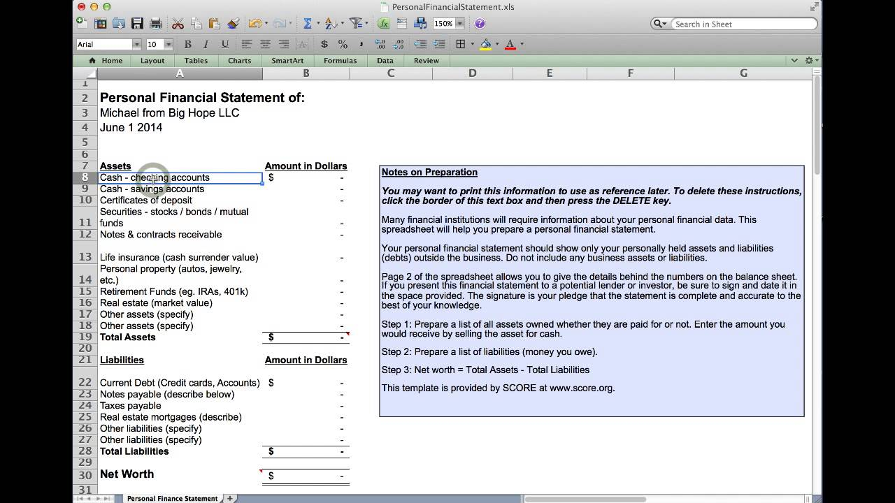 personal financial statement youtube