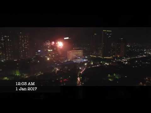 Indonesia, West Jakarta 2017 NEW YEAR Fireworks DRONE
