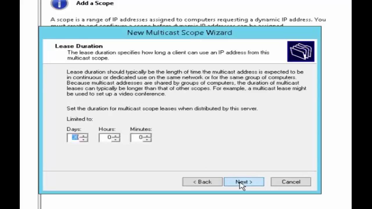 5 Windows Server 2016 DHCP Multicast Scopes